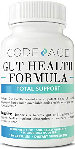 Codeage Leaky Gut Formula Supplements, Integrity Blend of L Glutamine, Licorice Root DGL, SBO Probiotics and Prebiotics 10 Billion CFUs Per Serving, 180 Capsules