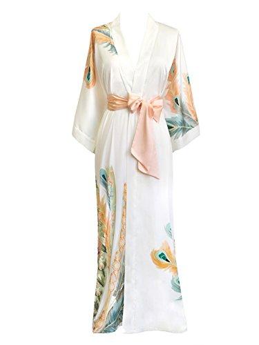 (Old Shanghai Women's Kimono Robe Long - Watercolor Floral (Peacock Feather- White))