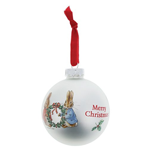 Beatrix Potter Peter & Flopsy Holding Holly Wreath Bauble, Multi-Colour, 8 x 8 x 8 cm