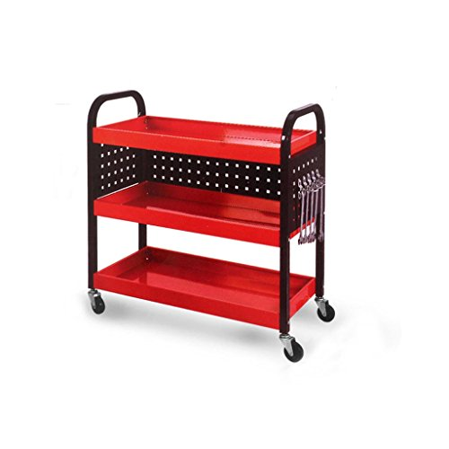 (Trolley Auto Repair, Three Layers Cold Rolled Steel Utility Vehicle, Factory Workshop Auto Repair Shop Maintenance Vehicle, Tool Trucks, 250 Kg Load (Color : Red))