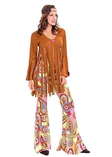 Hippie Chic Costumes (Hippie Costume Women - Halloween Sexy Sweetie 60S Hippie Jumpsuit Costume for Adult)