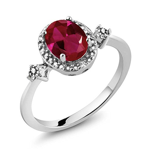 1.29 Ct Oval Diamond (1.29 Ct Oval Red Created Ruby White Diamond 925 Sterling Silver Ring With Accent Diamond)