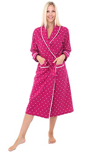 Womens Flannel Robe, Lightweight Cotton Bathrobe, XL Pink with White Dots (A0549Q06XL) ()