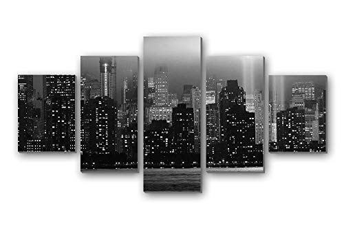 GLITZFAS PRINTS 5 Panel Wall Art Painting - World Trade Center New York Memorial Lights Skyscrapers Rays - Canvas Stretched with Wooden Frame for Home Decor (8