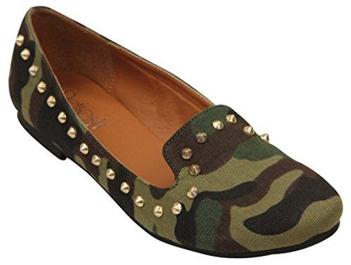 Uppdatera Belin-15 Kvinna Klassisk Slip På Komfort Tillfälliga Loafers Kamouflera 6,5