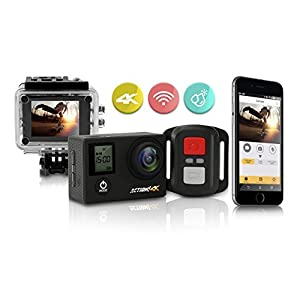 Action! 4K WiFi Sports Action Camera Ultra HD Waterproof | 170° Ultra Wide-Angle Len | 2 - Rechargeable Batteries and Full Accessories Kit (Black)