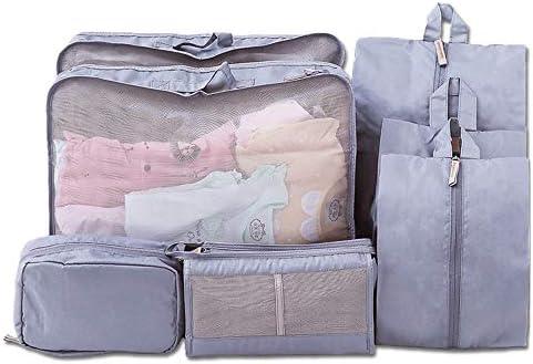旅行用収納袋 パッキングキューブ旅行オーガナイザー荷物セット防水服収納袋荷物オーガナイザーセット7ピース ハンドロールアップ再利用可能な服 (色 : Rose Red, Size : Free size)