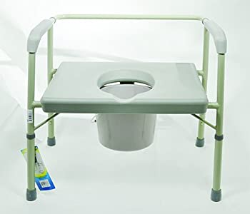 """Bariatric Heavy Duty Commode Molded plastic arm rests. Height 16"""" to 20 1/2"""". Weight capacity: 600 lbs."""