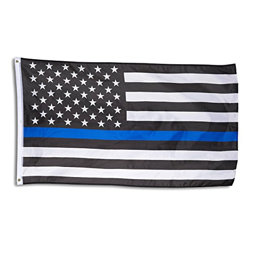 Price comparison product image Blue Line Flag - Blue Lives Matter American Flag for Police,  Firefighters,  Emergency Services,  Outdoor,  Indoor Display,  Black,  White,  Blue,  58 x 36 Inches