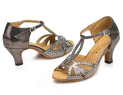Professional Tango Salsa Flannelette Grey Dance Ballroom Party Stylish CRC Sparkle Rhinestones Peep Latin Sandals Morden Wedding Toe Womens zPT6qF
