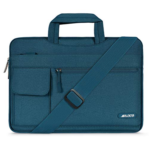 MOSISO Laptop Shoulder Bag Compatible 15-15.6 Inch MacBook Pro, Ultrabook Netbook Tablet, Polyester Flapover Protective Messenger Briefcase Carrying Handbag Sleeve Case Cover, Deep Teal