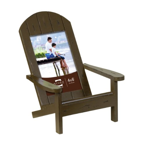 Prinz Easy Livin' Adirondack Style Wood Chair Frame in Distressed Brown Finish, 4 by 6-Inch