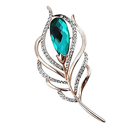 Kalapure Enchanting Single Peacock Feather Crystal Rhinestone Custom Pin Brooch (Emerald Green) - Sterling Silver Bow Brooch