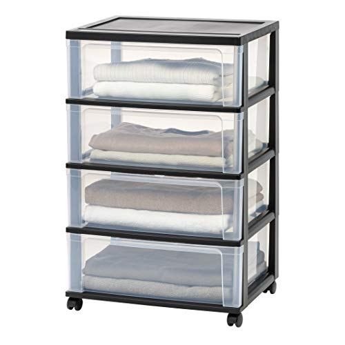 IRIS 4 Drawer Wide Chest, Black