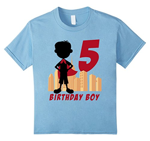 unisex-child Kids 5th Birthday Comic Superhero T-Shirt for 5 Yr Old Boys 4 Baby Blue (Comic Retro Old Shirt)