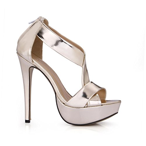 Pumps Sandals Sole Platforms Rubber Crossing PU Heels 14CM Summer 4U Women's 3CM Mirror High Straps Best Peep toe 6aAgTA
