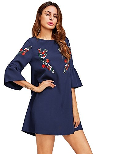 Floerns Women's Bell Sleeve Embroidered Tunic Dress Navy XXL