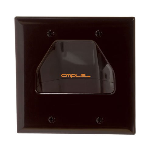 - Cmple - Wall Plate - 2-Gang Recessed Low Voltage Cable - Brown