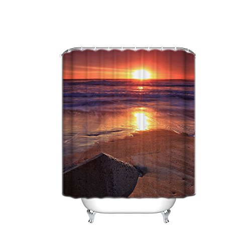 FANNEE Hawaiian Decorative Shower Curtains, Warm Tropical Sunset Destination Tour On Maui Beach, Hawaii, Bathroom Accessories, 54X78 Inch by FANNEE