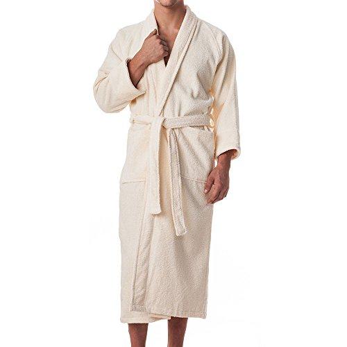 eLuxurySupply Mens 100% Long Staple Cotton Terry Cloth Robe Ivory