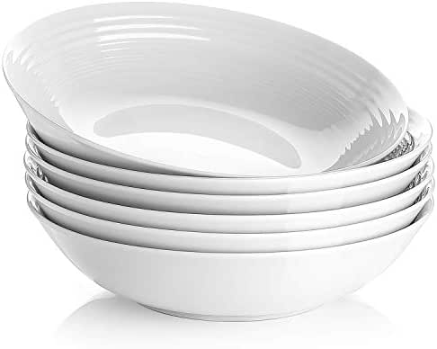 Y YHY 26 OZ Porcelain Pasta/Salad Bowls,White Soup Bowl Set, Wide & Shallow, Set of 6 - Spiral Pattern