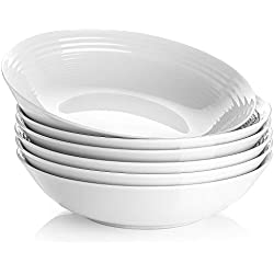 YHY 26 OZ Porcelain Pasta/Salad Bowls,White Soup Bowl Set, Wide & Shallow, Set of 6 - Spiral Pattern