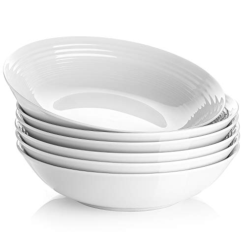 Y YHY 26 Ounces Porcelain Pasta Salad Bowls, White Soup Bowl Set, Wide and Shallow, Set of 6, Spiral - Flat Soup Bowl
