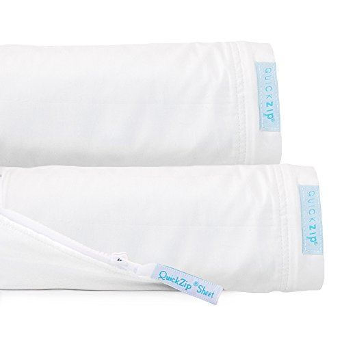 QuickZip 2-Pack, the Zip-On Fitted Sheet that Won't Pop Off | Easy to Change & Fold | Perfect for Bunk Beds, 2 Zip-On Sheets + 1 Fitted Base, White, Twin (Bed 1 Bunk Bed)