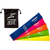 Cheap ZESTE Resistance Bands – Best Home and Gym Fitness Latex Elastic Loop Band for Workout, Exercise, Stretch, Strength Training (Set of 5, 12×2 inches)