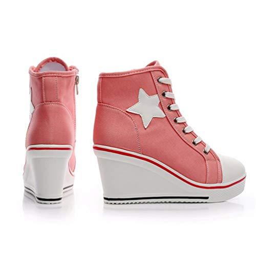 Talon Wedge Mesdames Casual Chaussures Semelle Pompes Haut Toile Rose Plateforme Espadrilles Extérieure Femmes Épaisse RFZIqq