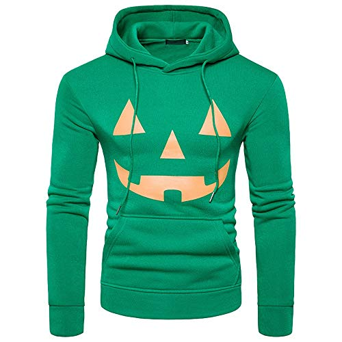 GOVOW Halloween Long Sleeve Shirt for Men Clearance Sale Hoodie Sweatshirt Jumper Hooded Pullover Tops Blouse