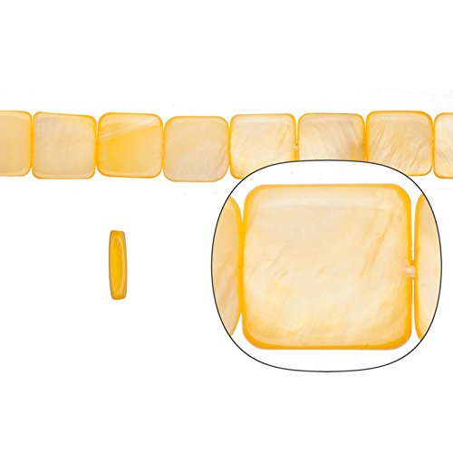 Shell Bead, Yellow(Dyed) Mother-Of-Pearl, Square Plate, 12x12mm 16 (Capiz Shell Square)