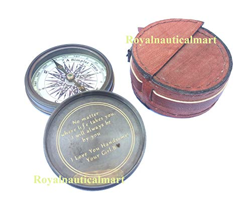 - Royalnauticalmart Engraved Compass Brass United State Navy Compass Nautical Compass Maritime Gift Vintage Style Compass (Inside Engraved with Leather Box)