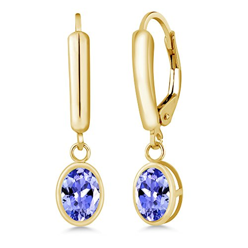 Gem Stone King 1.50 Ct Oval Blue Tanzanite Gemstone Birthstone 14K Yellow Gold Jewelry Women's Earrings