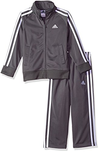 (adidas Boys' Toddler Tricot Jacket & Pant Clothing Set, Grey Five, 4T)