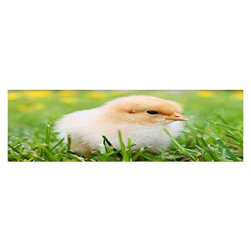 Leighhome 3D Aquarium Background A Hairy Chick on The Grass Fish Tank Wall Decorations Sticker L35.4 x H15.7