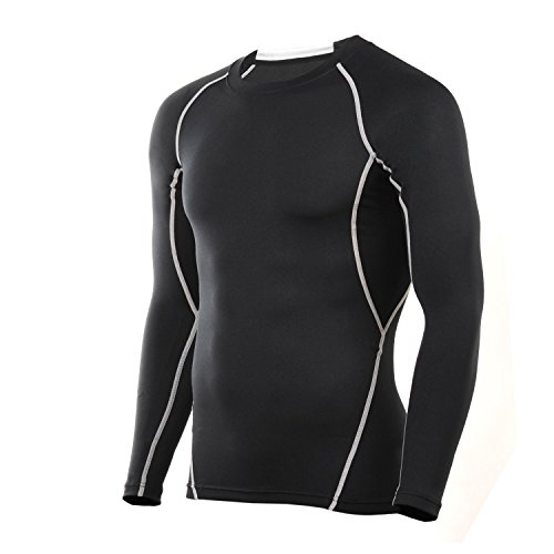 4ucycling Compression Tight Shirt Base Layer Breathable Sleeves Fit Slim Sports Design for Work Out Black (Womens Cycling Base Layer compare prices)