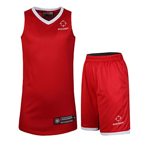 RIGORER Basketball Uniform Jersey and Shorts Trainning Tank Top Set Red/White Size 2XL