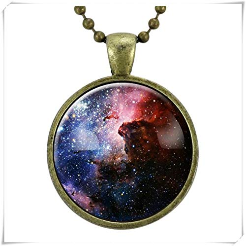Showking Carina Nebula Necklace, Galaxy Science Jewelry, Universe Space Pendant ,Dome Glass Jewelry, Pure Handmade