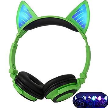 Auriculares Bluetooth Plegables Auriculares con oreja de gato LED para niños Verde: Amazon.es: Electrónica