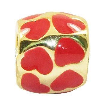 Andante-Stones perle Or 14K Gold Bead avec coeurs rouges Élément bille pour perles European Beads + Étui en organza