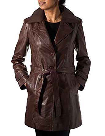 Womens Brown Real Leather Trench Coat with Back Vent and