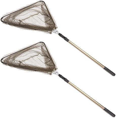 Croch Kescher Angeln Unterfangskescher Feinmaschig Faltbar Teleskop angelkescher Stabil Aluminium für Größe Fische auch für Teich und Pool
