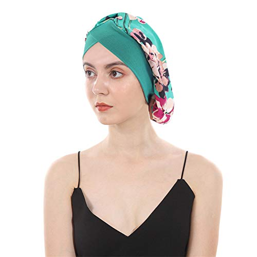 DuoZan Women's Soft Silky Satin Turban Elastic Wide Band Satin Bonnet Night Sleep Hat Hair Loss Cap (Green Flower) ()
