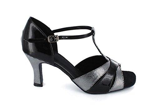 Dance Strap Sandals Gray Women's Salsa T Toe Latin Shoes Satin Minitoo Open Fashion Ballroom Design qzBHFFwx