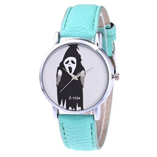 ManxiVoo Men Women Halloween Ghost Dial Analog Quartz Watches Faux Leather Band Wrist Watch (Mint Green)