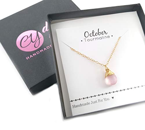 October Birthstone Pink Tourmaline 14k Gold Filled Necklace - Gift for Her