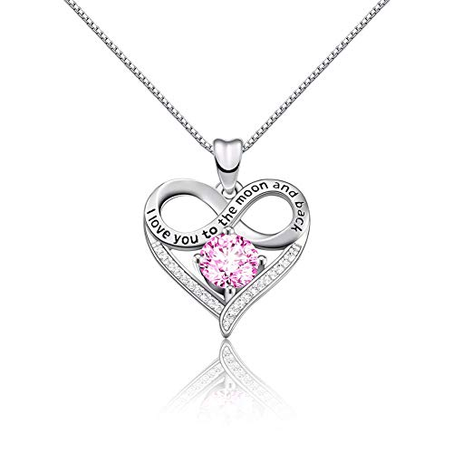 CAT EYE JEWELS Heart Infinity Pendant Sterling Silver Necklace Round Pink AAA Cubic Zirconia Diamond Jewelry for Women Girl -