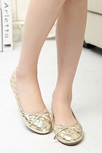 Gold Toe Bow CHICKLE Shoes with Women's Flats Round 5 0x0EwTCq