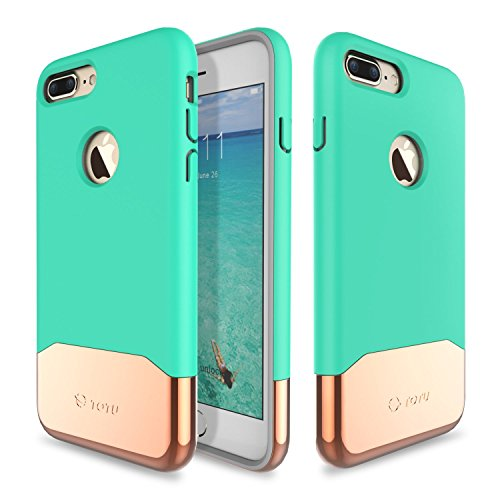 JMcolo iPhone 7 Case, [Vibrance Series] Protective Slider Style Cases for Apple iPhone 7 2016 SOFT-Interior Scratch Protection Finished Hard Cover - Turquoise/Champagne Gold